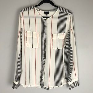 Who What Wear striped long sleeve blouse button